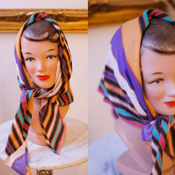 1970s striped cotton scarf // vintage triangle scarf// vintage babushka