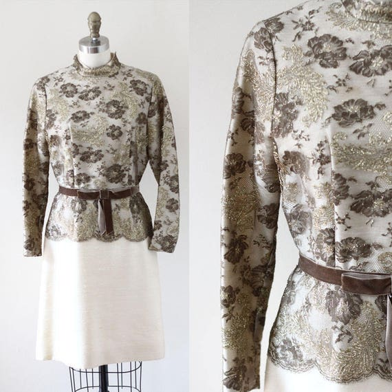 1960s Gold Lace Party Dress // Gold venus dress // vintage dress