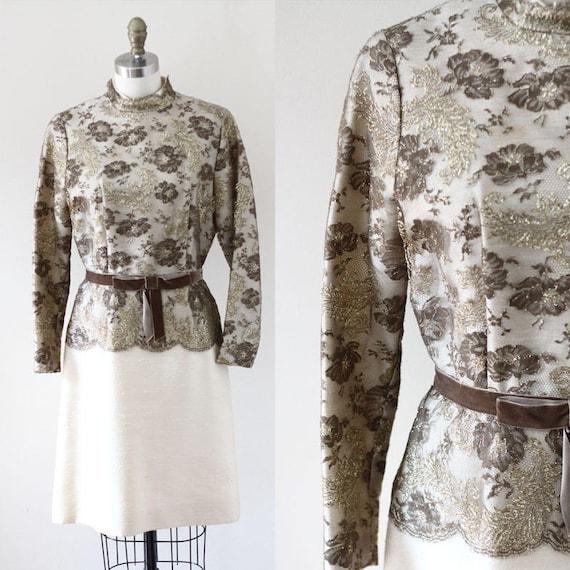 1960s Gold Lace Party Dress // Gold venus dress // vintage dress