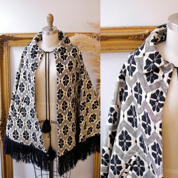 1960s gold and black cape // 1960s gold knit cape // Vintage Capes