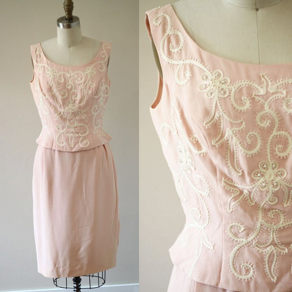 1960s pale pink sheath dress // 1960s embroidered dress // vintage dress