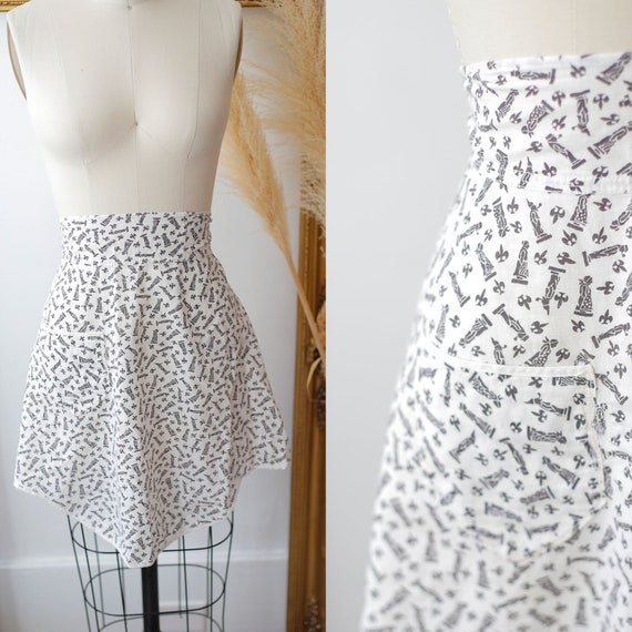 1950s black and white printed apron // vintage pinafore apron //vintage apron