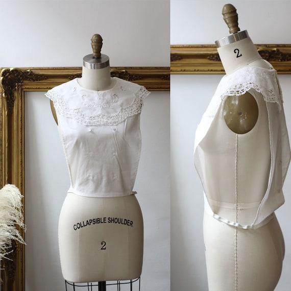 1960s white lace dickie // 1960s white dickie // vintage cotton dickie