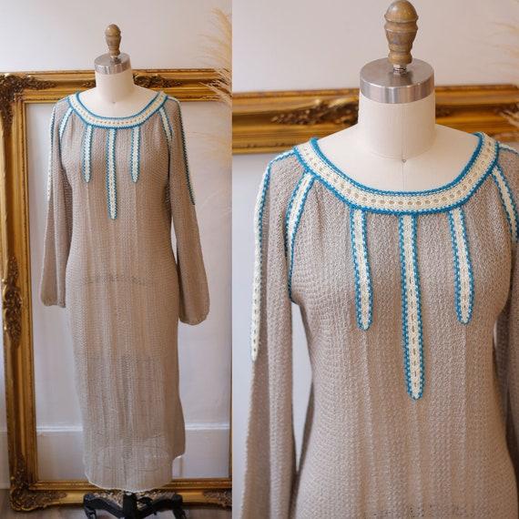 1960s sheer knit dress // 1960s grey knit dress //