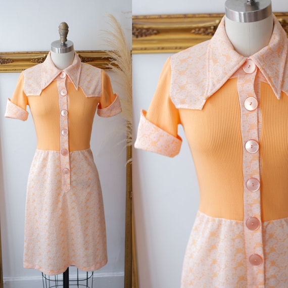 1960s orange mini dress // 1970s orange mini dress