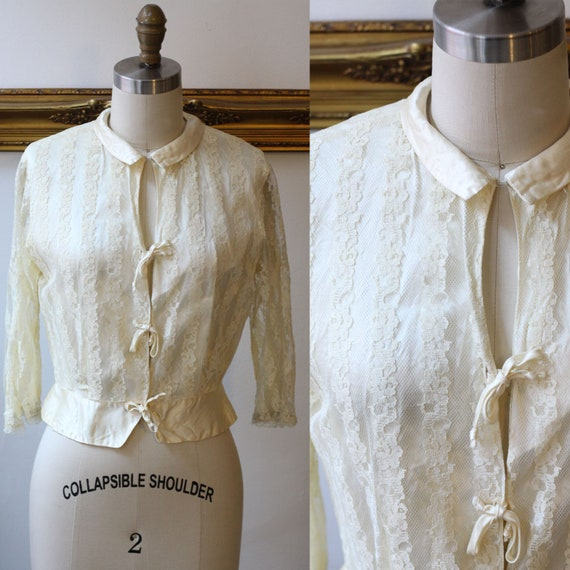 1930s ivory lace blouse // 1930s lace blouse // vintage top