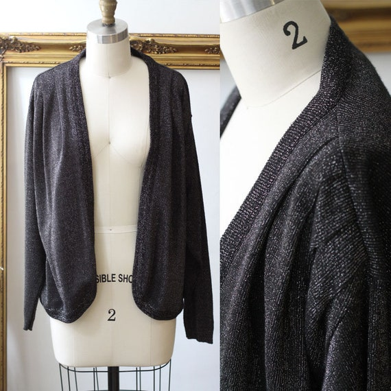1980s black silver cardigan // 1980s silver cardigan sweater // vintage sweater