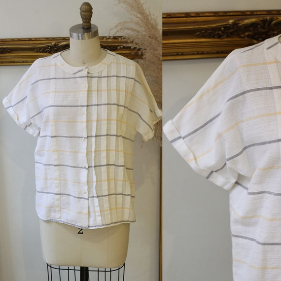 1980s linen striped top // 1980s geometric top // 1980s linen button up