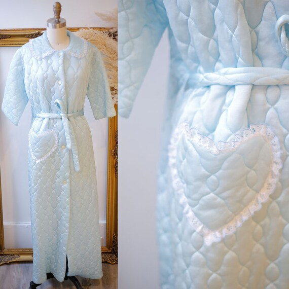 1960s blue quilted bed jacket // 1960s heart jacket // vintage jacket
