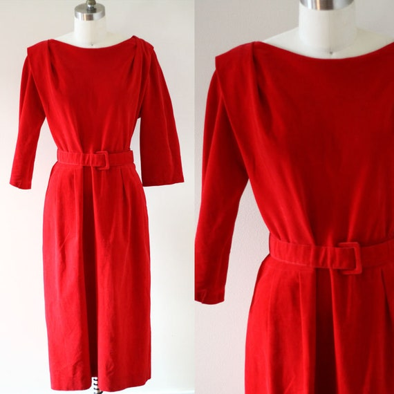 1960s red sheath dress // 1960s microsuede dress // vintage dress