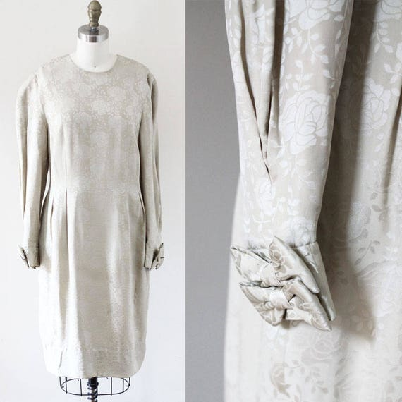 1980s silk roses dress // 1980s silk dress // vintage dress