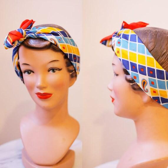 1960s square print scarf // vintage neck scarf // vintage scarf