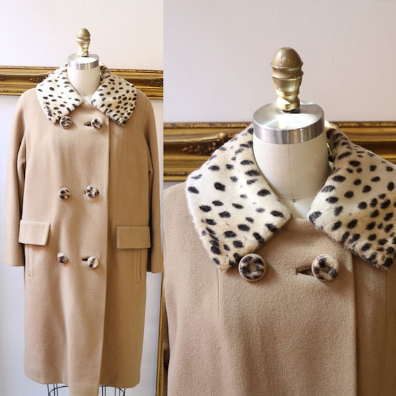 1960s leopard and tan coat  // 1960s mod jacket // vintage wool jacket
