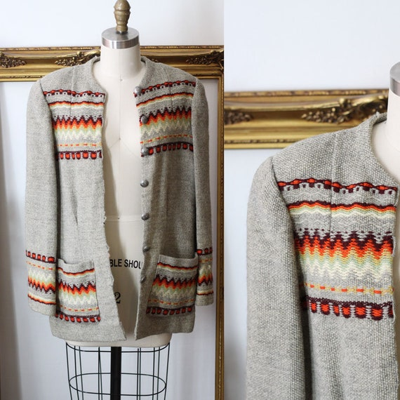 1940s Norwegian Sweater Jacket // 1940s wool sweater // vintage sweater cardigan