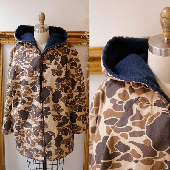 1970s camo jacket //1970s camo lined jacket  // vintage camo jacket