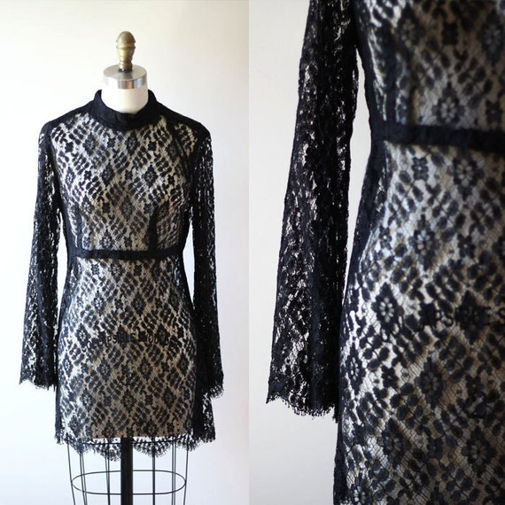 1960s black lace mini dress // bell sleeves // vintage cocktail dress