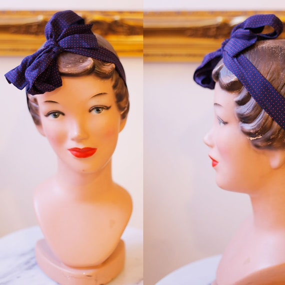 1960s navy blue silk scarf // vintage polka dot silk scarf // vintage silk scarf