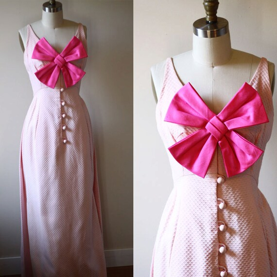 1960s pop pink maxi dress // 1960s gown // vintage dress