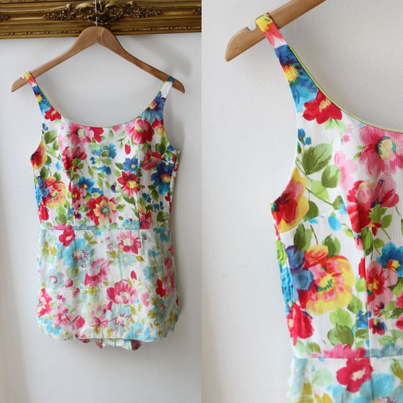 1960s bright floral one piece // 1960s Swimsuit // 1960s one piece bathing suit