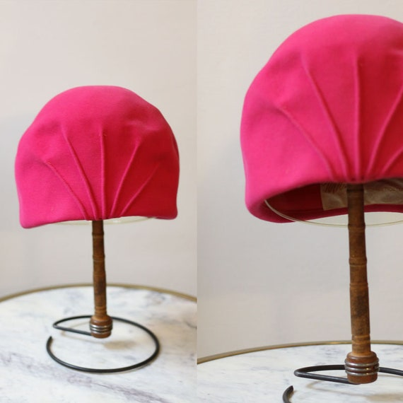 1950s pink cloche hat // 1950s pink turban hat //