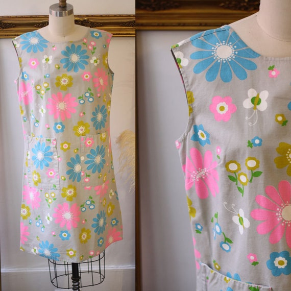 1960s mod floral shift dress // 1960s mod dress //