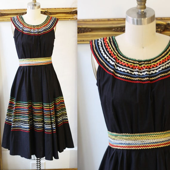 1950s rainbow dress // 1950s black swing dress // vintage dress