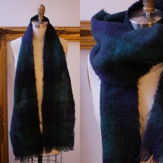 1980s plaid mohair scarf // 1980s mohair scarf // vintage scarf
