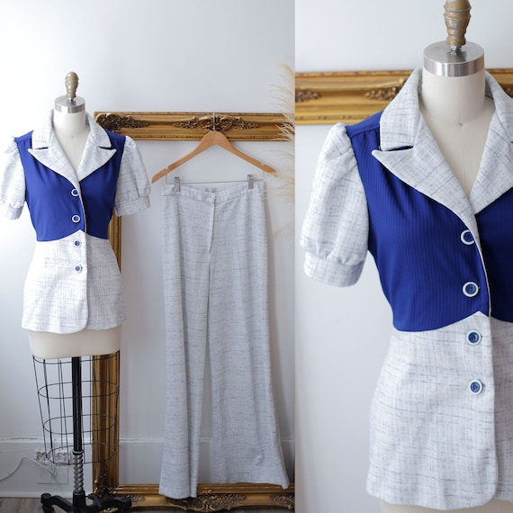 1970s blue two piece set // 1970s pant suit // 197
