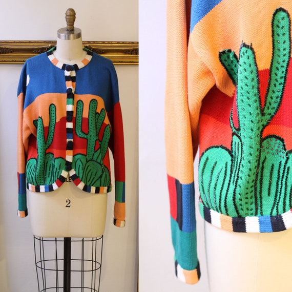 1980s beaded cactus cardigan // 1980s cactus sweater // vintage womens