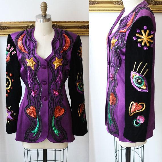 1980s sequin Escada blazer // vintage sequin blazer // vintage Escada blazer