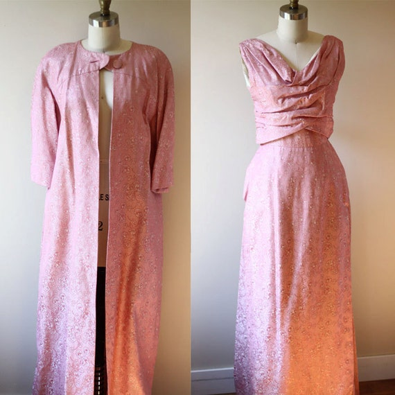 1950s sparkly pink dress set // 1950s cocktail gown // vintage dress