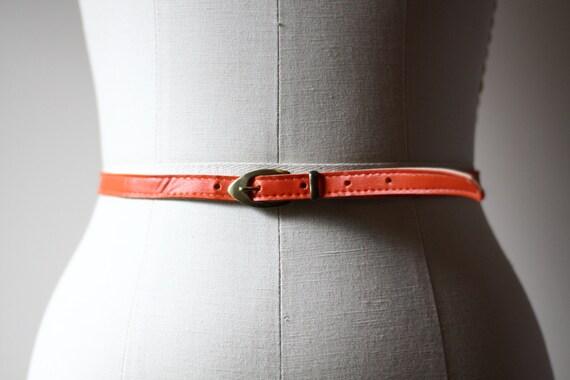 1970s orange skinnny belt // skinny belt // vintage belt