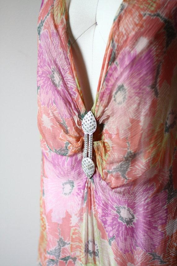 1920s floral silk chiffon dress // 1920s flapper … - image 2