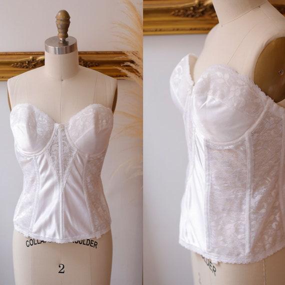 1980s white lace bodice //1980s corset // Vintage Bra
