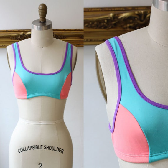 1980s colour block bikini top// Vintage Swimsuit // 1980s bathing suit