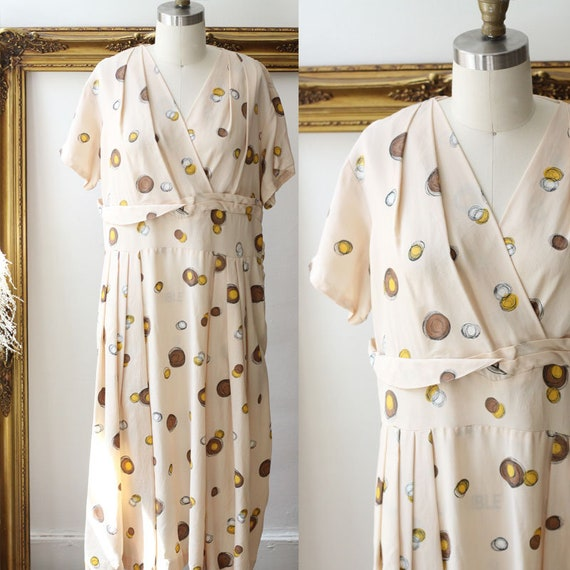 1950s circle print novelty dress // 1950s novelty