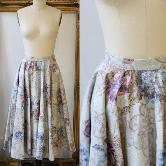 1950s novelty floral skirt // 1950s novelty skirt