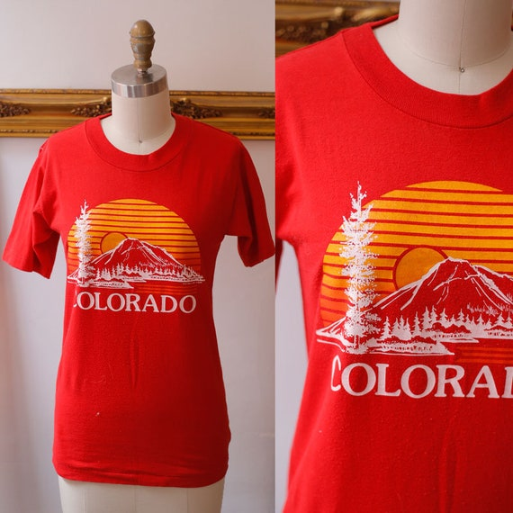 1980s red Colorado tee // 1980s thin t-shirt // vintage t-shirt