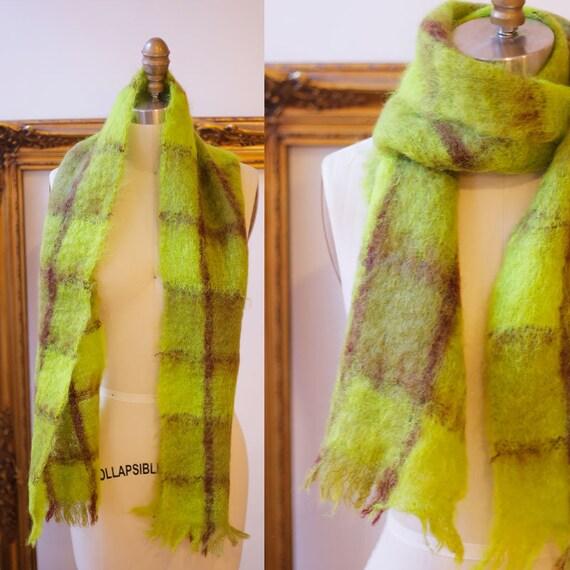 1960s plaid mohair scarf // 1960s mohair scarf // vintage scarf