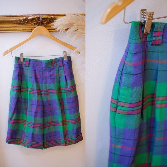 1980s plaid trouser shorts //1980s high waist shorts // vintage shorts