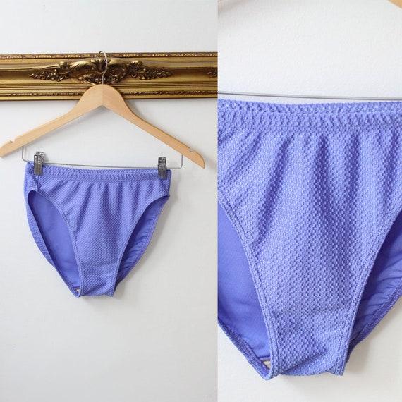 1980s textured purple high cut bikini bottoms// 1980s bikini bottoms // 1980s bikini