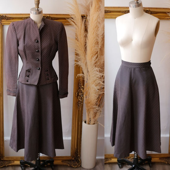 1940s two piece brown skirt set // 1940s brown ski