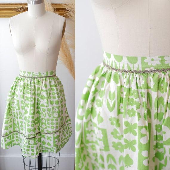 1960s green and white apron // vintage floral apron //vintage apron