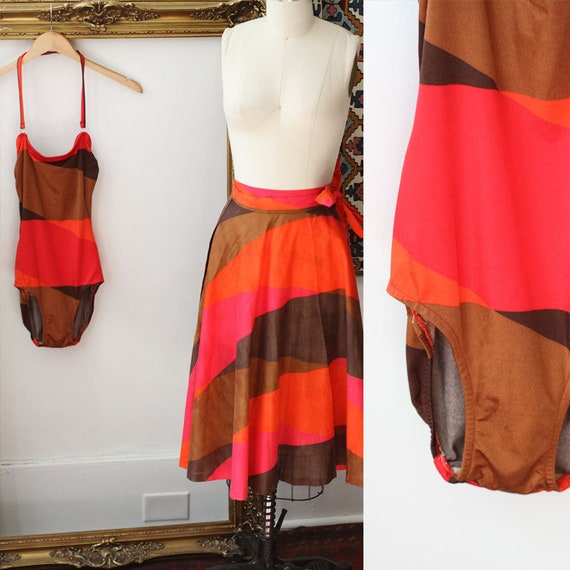 1970s swimsuit two piece set // 1970s one piece bathing suit // 1960s bathing suit set