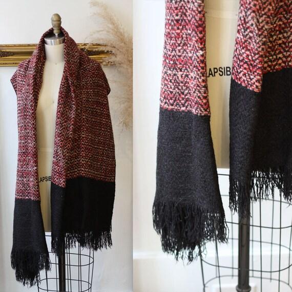 1990s oversized scarf // 1990s fringe scarf // vintage scarf