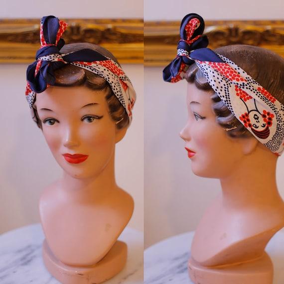 1960s polka dot scarf // vintage face print scarf // vintage neck scarf
