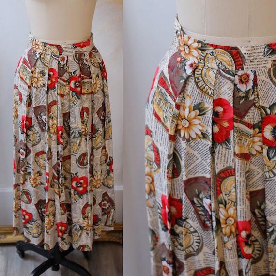 1980s novelty skirt // 1980s tourist skirt // vintage circle skirt