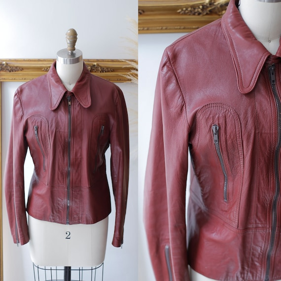1970s burgundy leather coat //1970s red leather ja