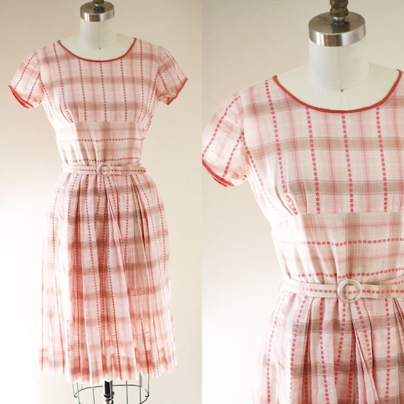 1960s pink plaid dress // 1960s day dress // vintage dress