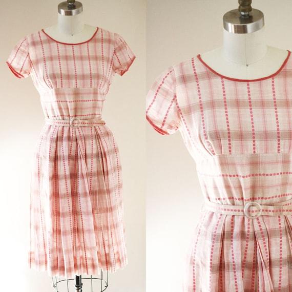 1960s pink plaid dress // 1960s day dress // vintage dress